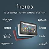 Fire HD 8 tablet, 8' HD display, 32 GB, latest model (2020 release), designed for portable entertainment, Twilight Blue