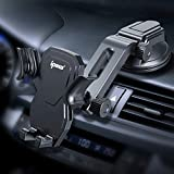 IPOW Car Phone Mount Holder Hands Free Car Phone Holder Dashboard Gravity Cell Phone Holder Mount with Auto Retractable Clamp Maximum Angle Adjustment for iPhone XR/XS Max/X/8/7 Galaxy S10/S9/Note 9